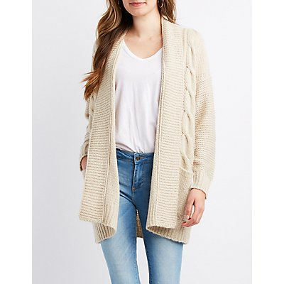 Cable Knit Open-Front Cardigan