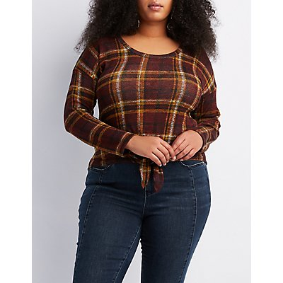 Plus Size Plaid Tie-Front Top