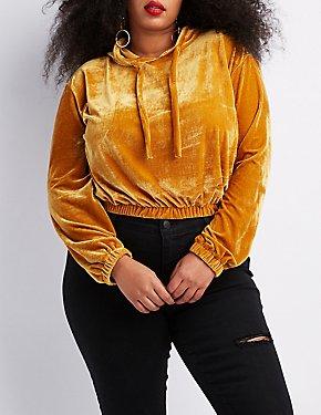 Plus Size Velvet Cropped Hoodie