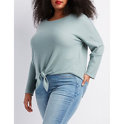 Plus Size Tie-Front Top