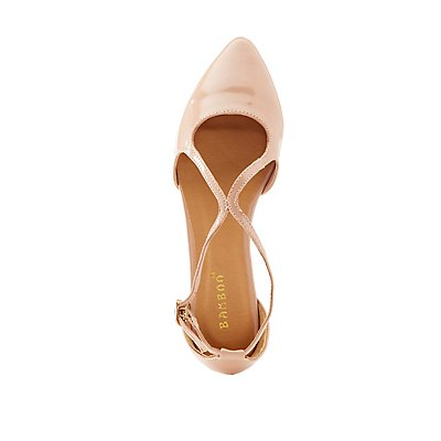 Bamboo Strappy Patent Pointed Toe D'Orsay Flats