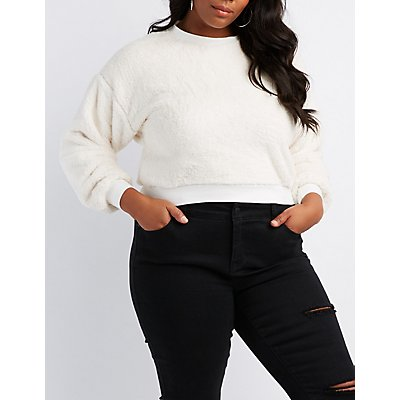 Plus Size Faux Fur Pullover Sweater