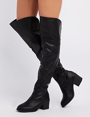 Bamboo Faux Leather Knee-High Boots