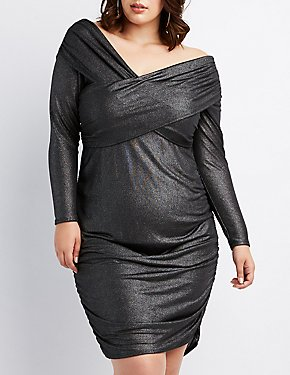 Plus Size Metallic Surplice Ruched Bodycon Dress