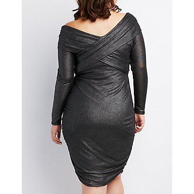 Plus Size Metallic Surplice Ruched Bodycon Dress