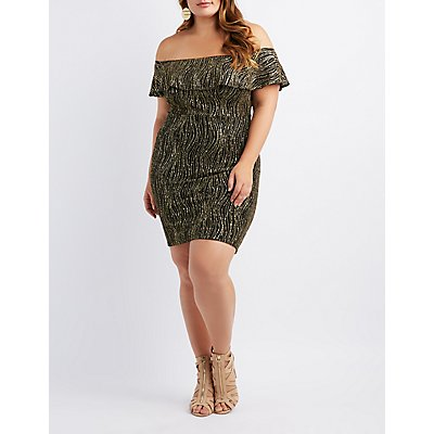 Plus Size Ruffle-Trim Off-The-Shoulder Bodycon Dress