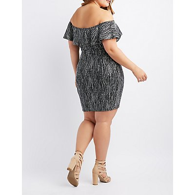 Plus Size Ruffle-Trim Off-The-Shoulder Bodycon Dress