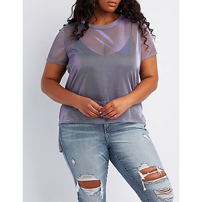 Plus Size Sheer Metallic Mesh Tunic