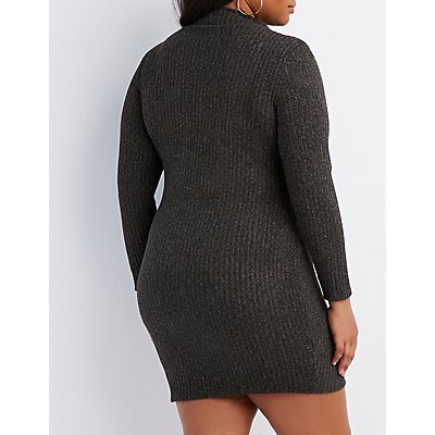 Plus Size Ribbed Knit Bodycon Sweater Dress