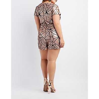 Plus Size Sequin Surplice Romper