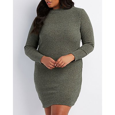 Plus Size Lurex Ribbed Knit Bodycon Sweater Dress
