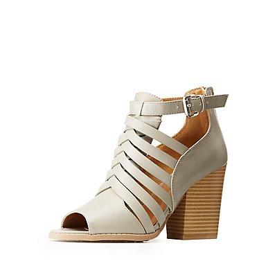 Peep Toe Caged Sandals