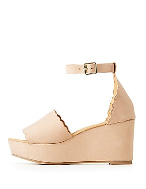 Ankle Strap Scallop Wedge Sandals