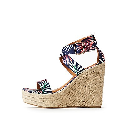 Floral Espadrille Wedge Sandals