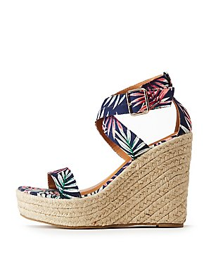 Floral Espadrille Wedge Sandals