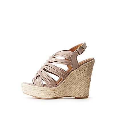 Faux Suede Espadrille Wedge Strappy Sandals