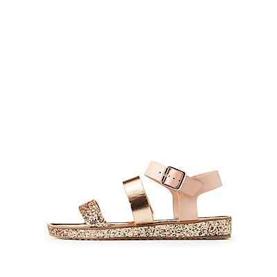 Bamboo Glitter Three-Piece Sandals