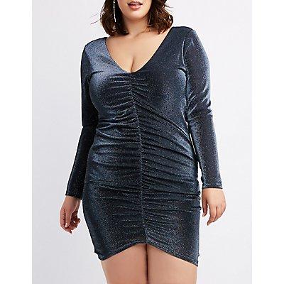 Plus Size Metallic Ruched Bodycon Dress