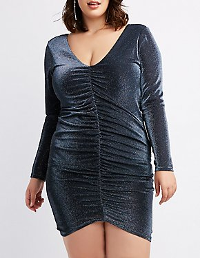 Plus Size Metallic Ruched Bodycon Dress