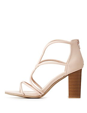 Faux Leather Caged Dress Sandals