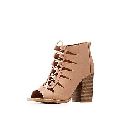 Lace-Up Peep Toe Sandals
