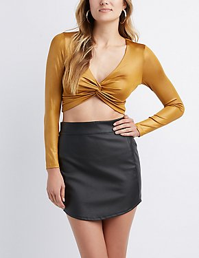 Metallic Knot Crop Top