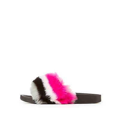 Bamboo Faux Fur Slide Sandals