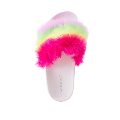 Bamboo Rainbow Faux Fur Slide Sandals by Charlotte Russe