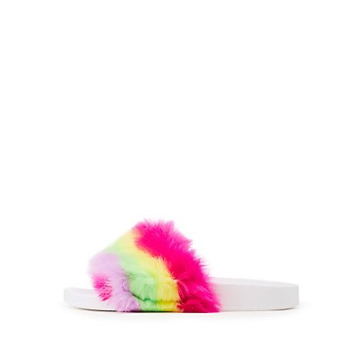 Bamboo Rainbow Faux Fur Slide Sandals