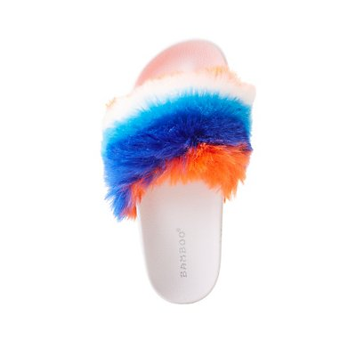 Bamboo Faux Fur Slide Sandals