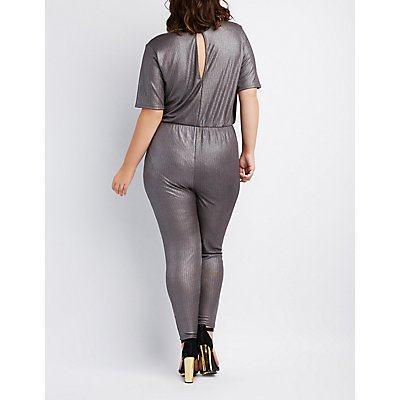 Plus Size Metallic Surplice Jumpsuit