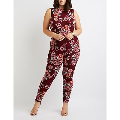 Plus Size Floral Mock Neck Jumpsuit