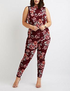 Plus Size Floral Mock Neck Jumpsuit