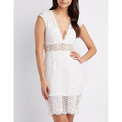 Scallop-Trim Crochet Bodycon Dress