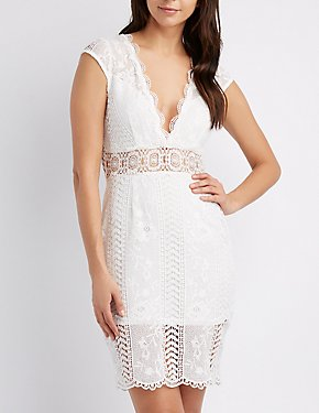 Scallop-Trim Crochet Bodycon Dress