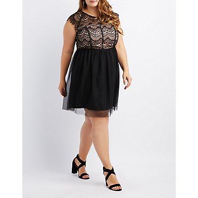 Plus Size Mesh & Eyelash Lace Skater Dress