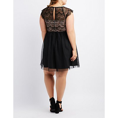 Plus Size Mesh & Eyelash Lace Skater Dress