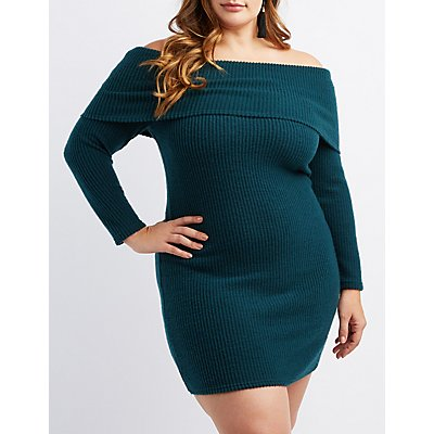plus-size-ribbed-knit-off-the-shoulder-bodycon-dress by charlotte-russe