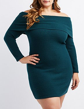 Plus Size Ribbed Knit Off-The-Shoulder Bodycon Dress
