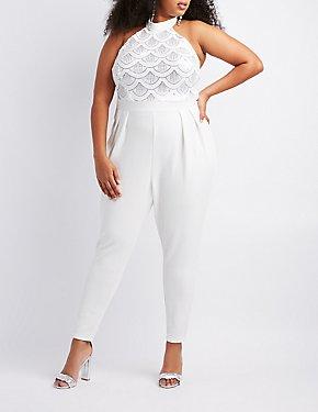 Plus Size Sequins Halter Pleated Jumpsuit