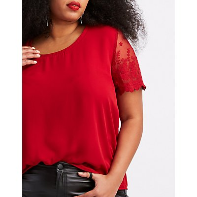 Plus Size Lace-Sleeve Chiffon Top