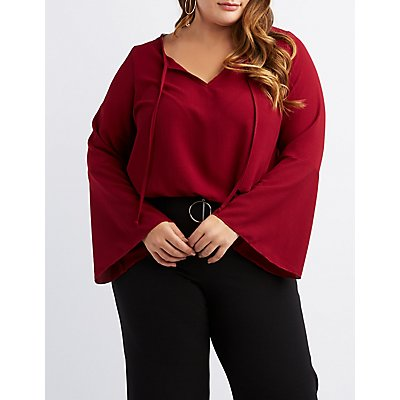 Plus Size Bell Sleeve Drawstring Crop Top