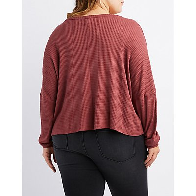 Plus Size Waffle Knit Top
