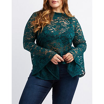 Plus Size Bell Sleeve Open-Back Lace Top
