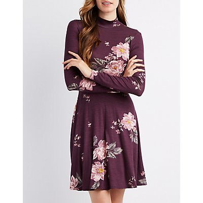 Floral Mock Neck Skater Dress