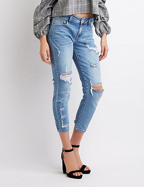 Boyfriend fit destroyed crop jeans Buy Cheap Best Seller Sale Clearance Store aabssrPC