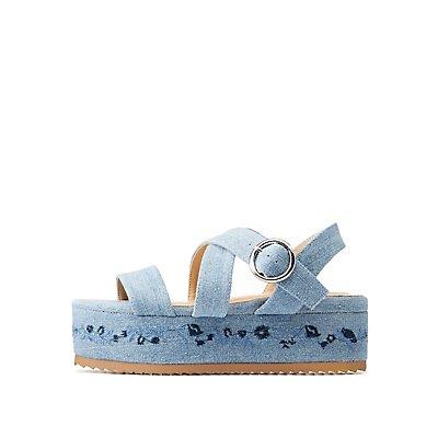 Strappy Denim Flatform Sandals