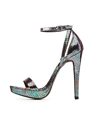 Wide Width Holographic Ankle Strap Sandals