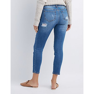Destroyed Mid Rise Crop Skinny Jeans
