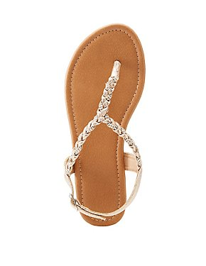Metallic Braided T-Strap Sandals